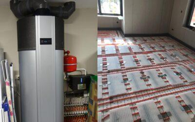 Villa voorzien van PCM-klimaatvloer met warmte- en koudeopslag in zoutbatterijen